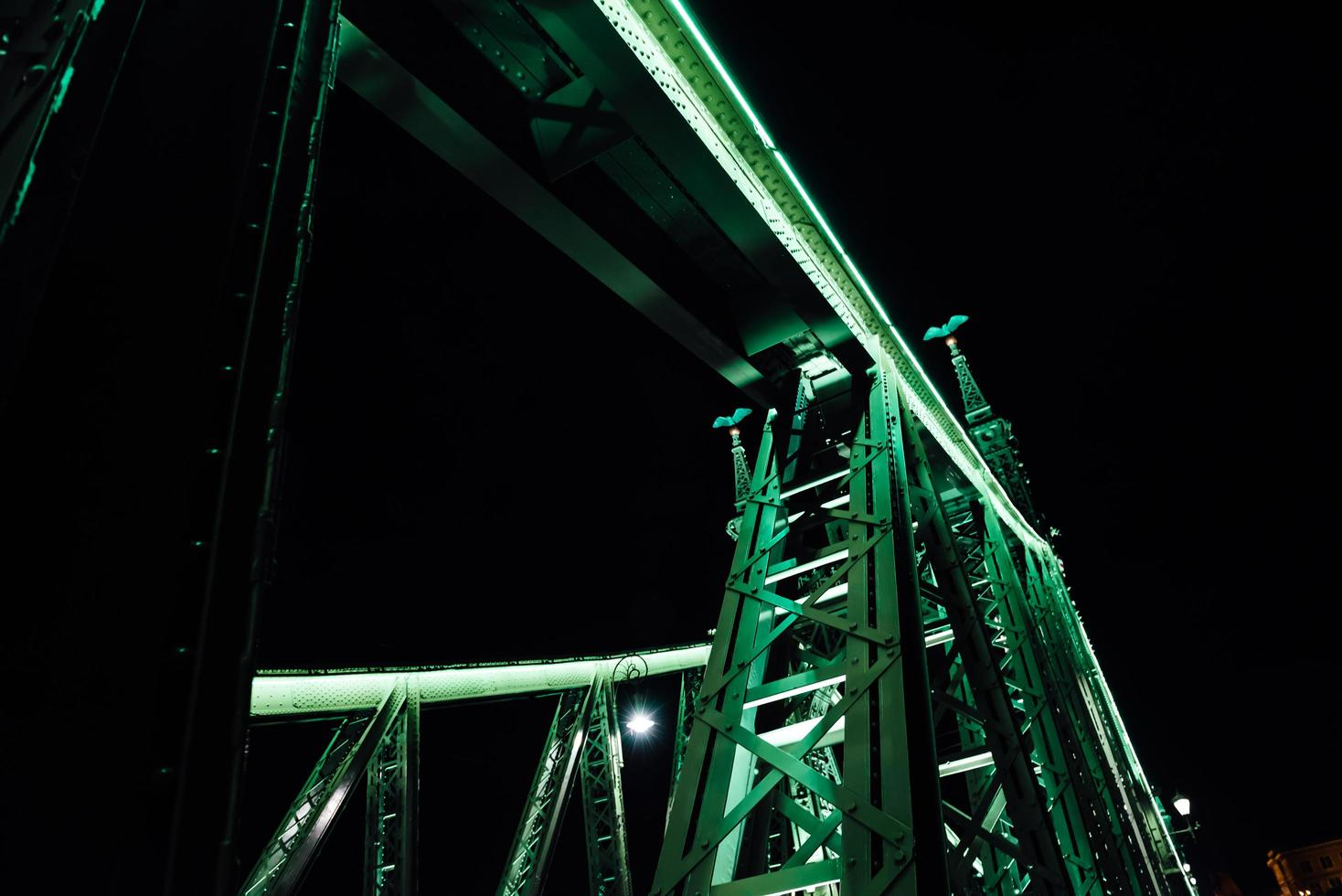 Vieux pont de fer sur le Danube à Budapest photo