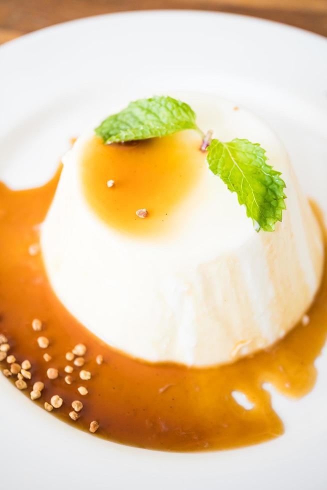 dessert au pouding au caramel et panna cotta photo