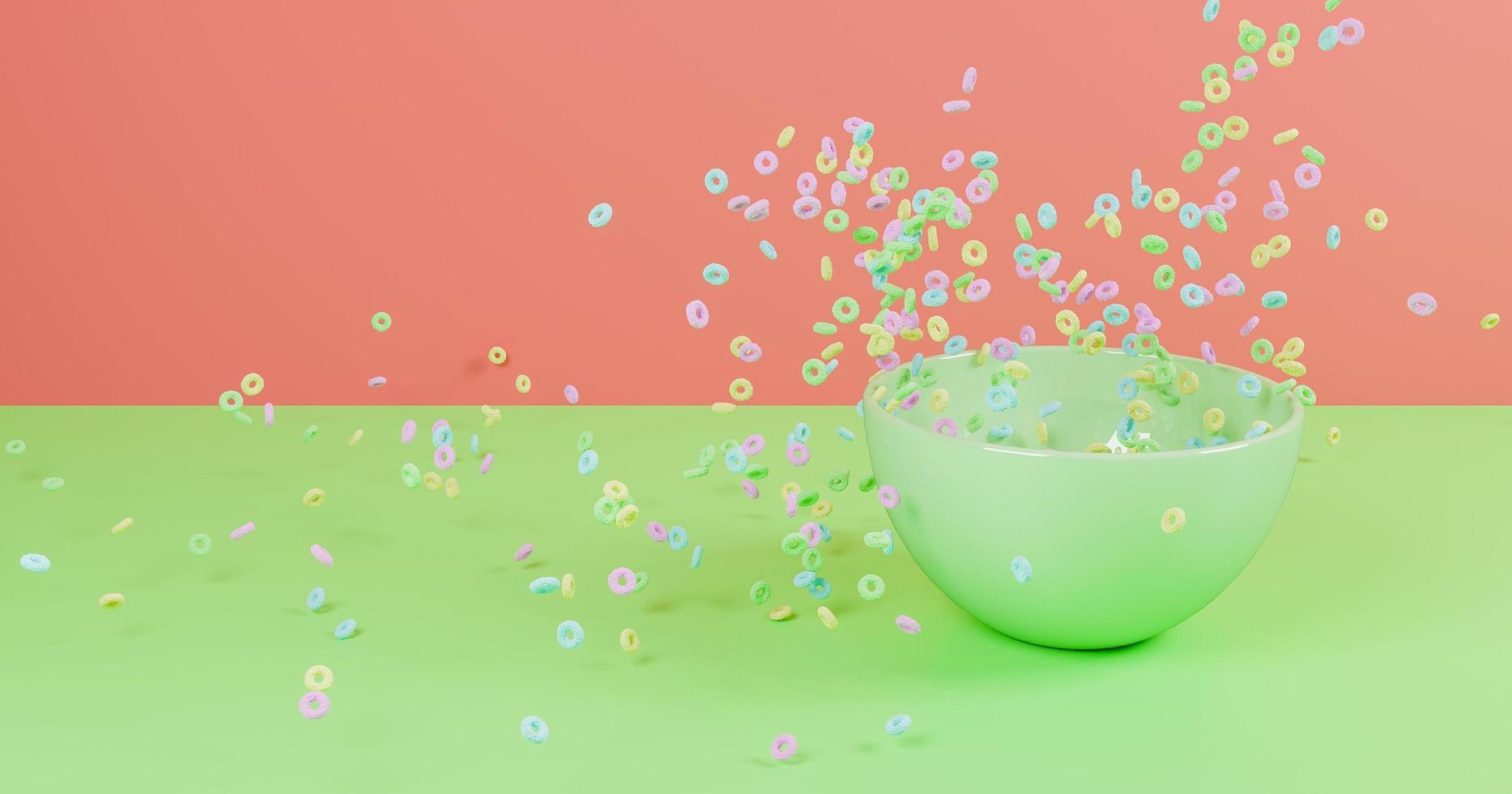 Céréales de couleur pastel 3D tombant sur un bol vert photo