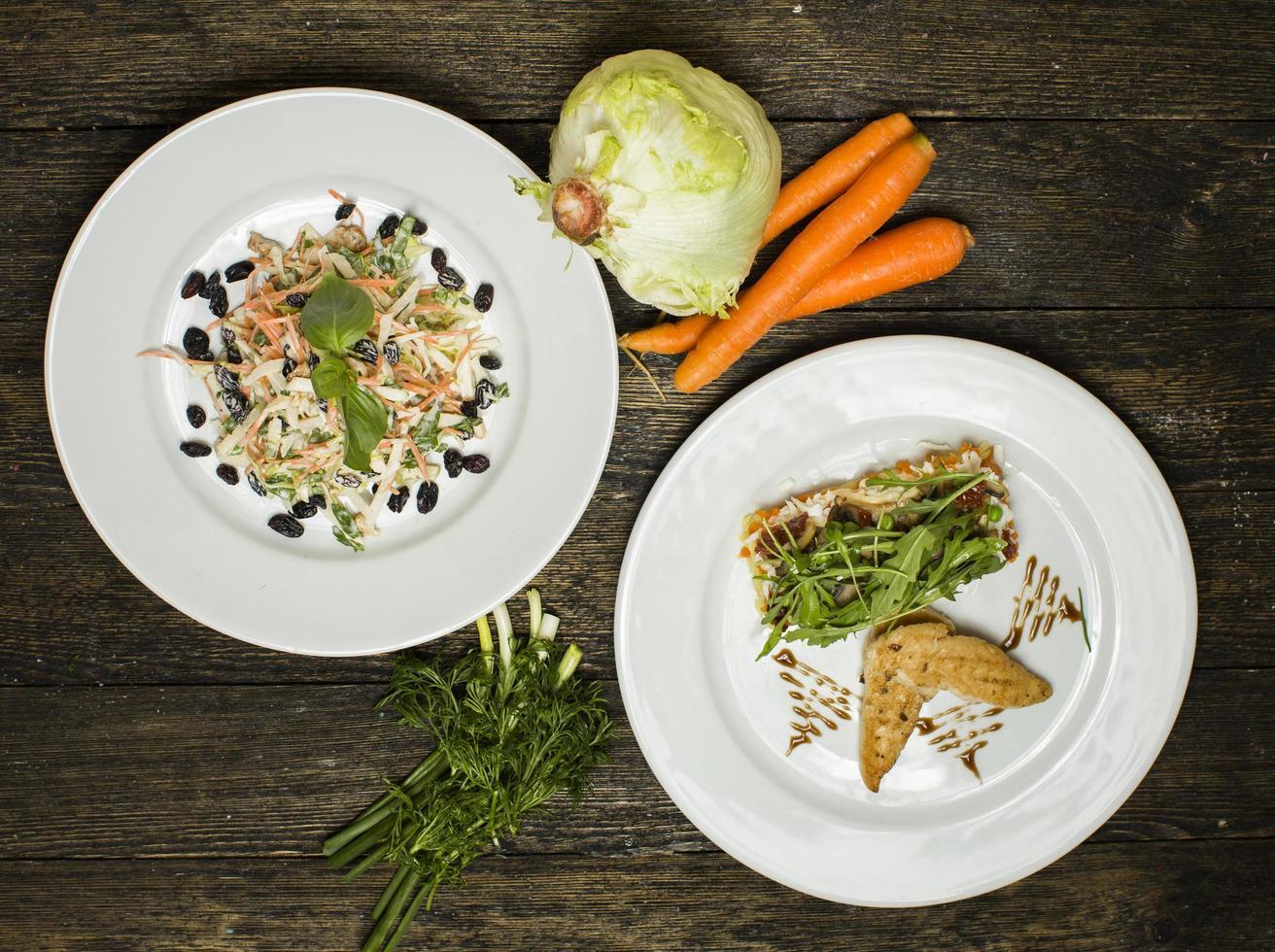 salades variées laitue et carotte photo