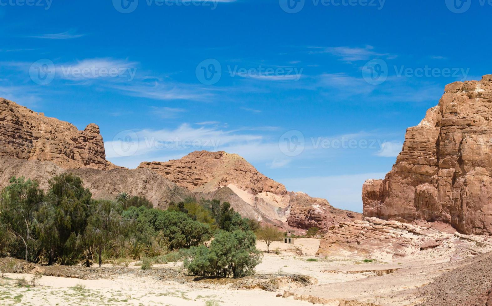 oasis du désert au milieu de hautes montagnes rocheuses photo
