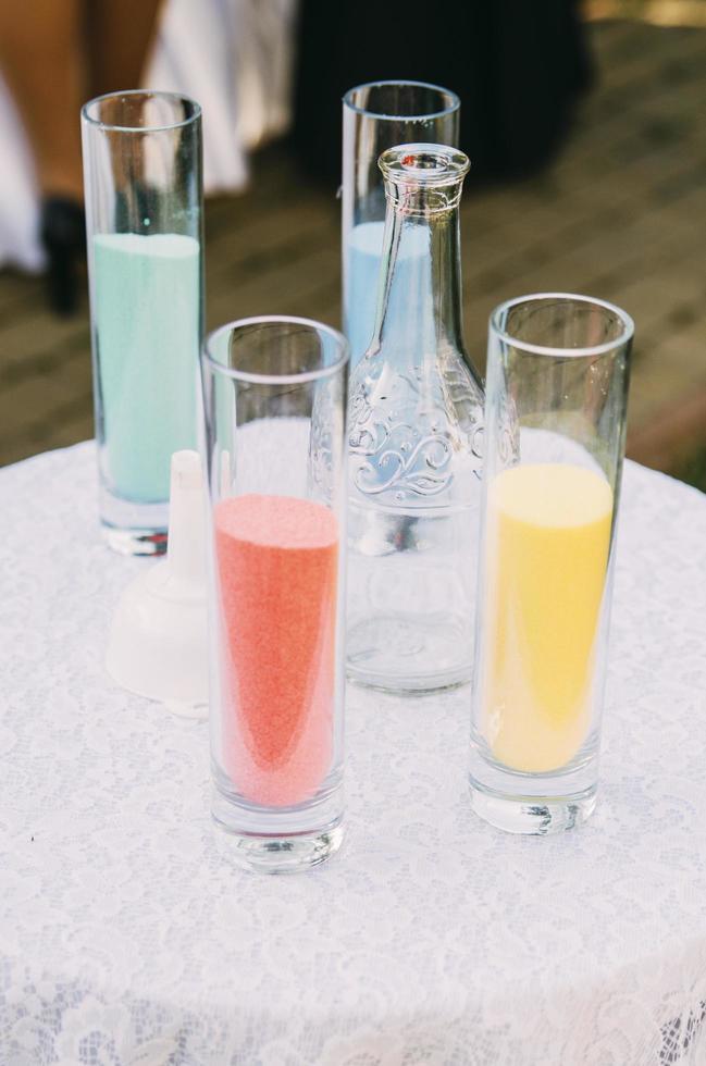 sable coloré dans des verres photo