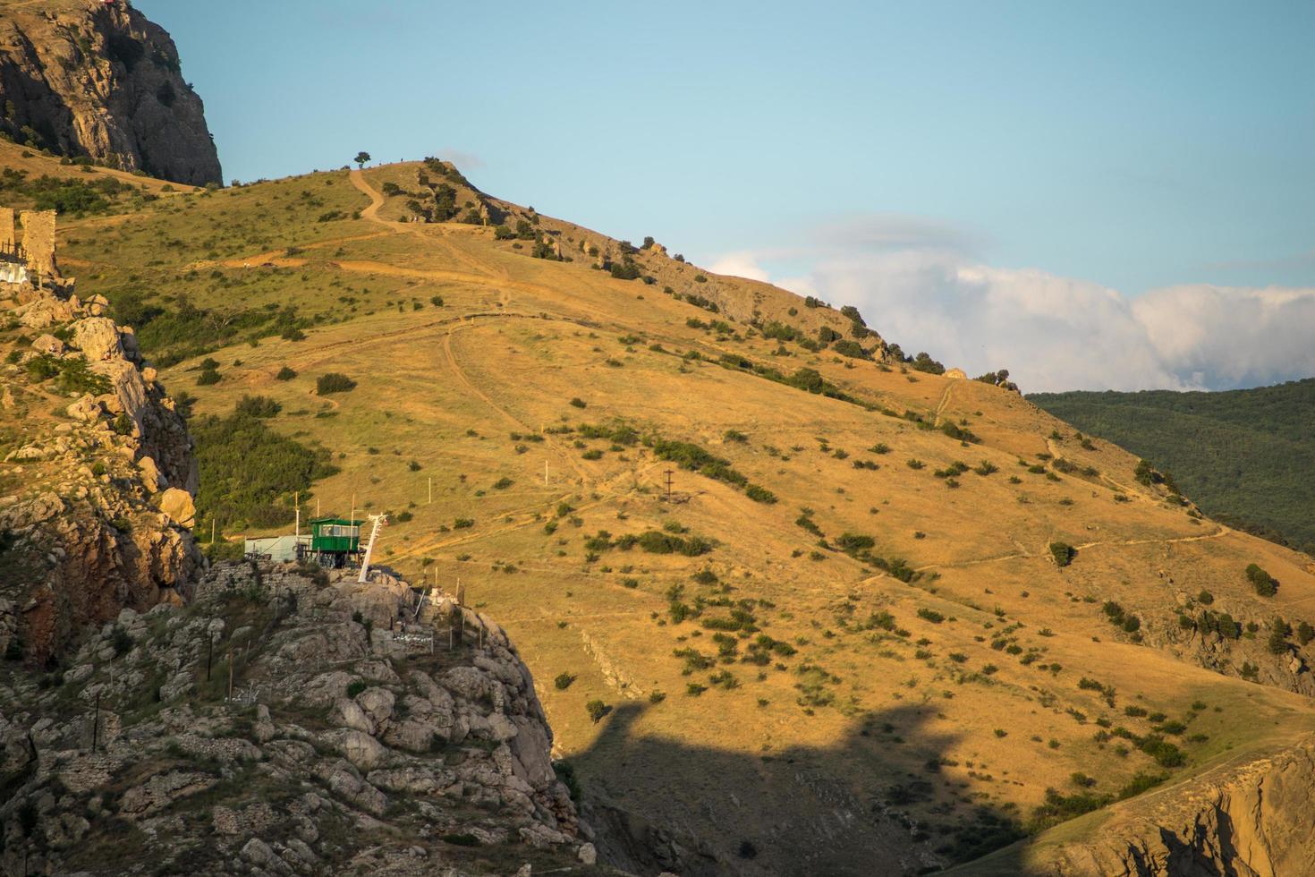 Vue de la forteresse génoise sur le flanc d'une montagne avec un ciel bleu nuageux en Crimée photo
