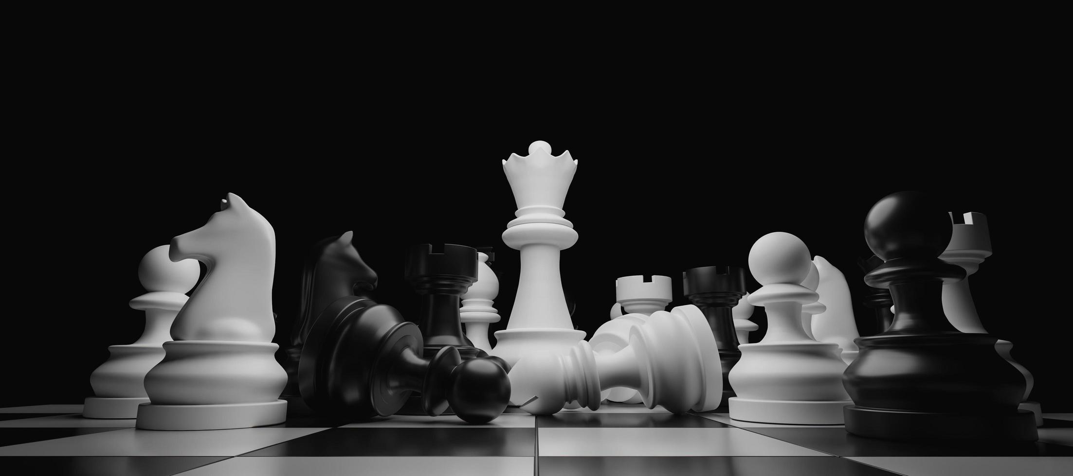 Gros plan de pièces d'échecs empilées avec la reine blanche se détachant au centre, rendu 3d photo