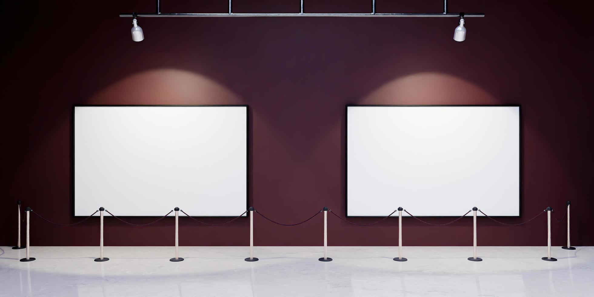 maquette de cadres dans un musée avec des projecteurs éclairant photo