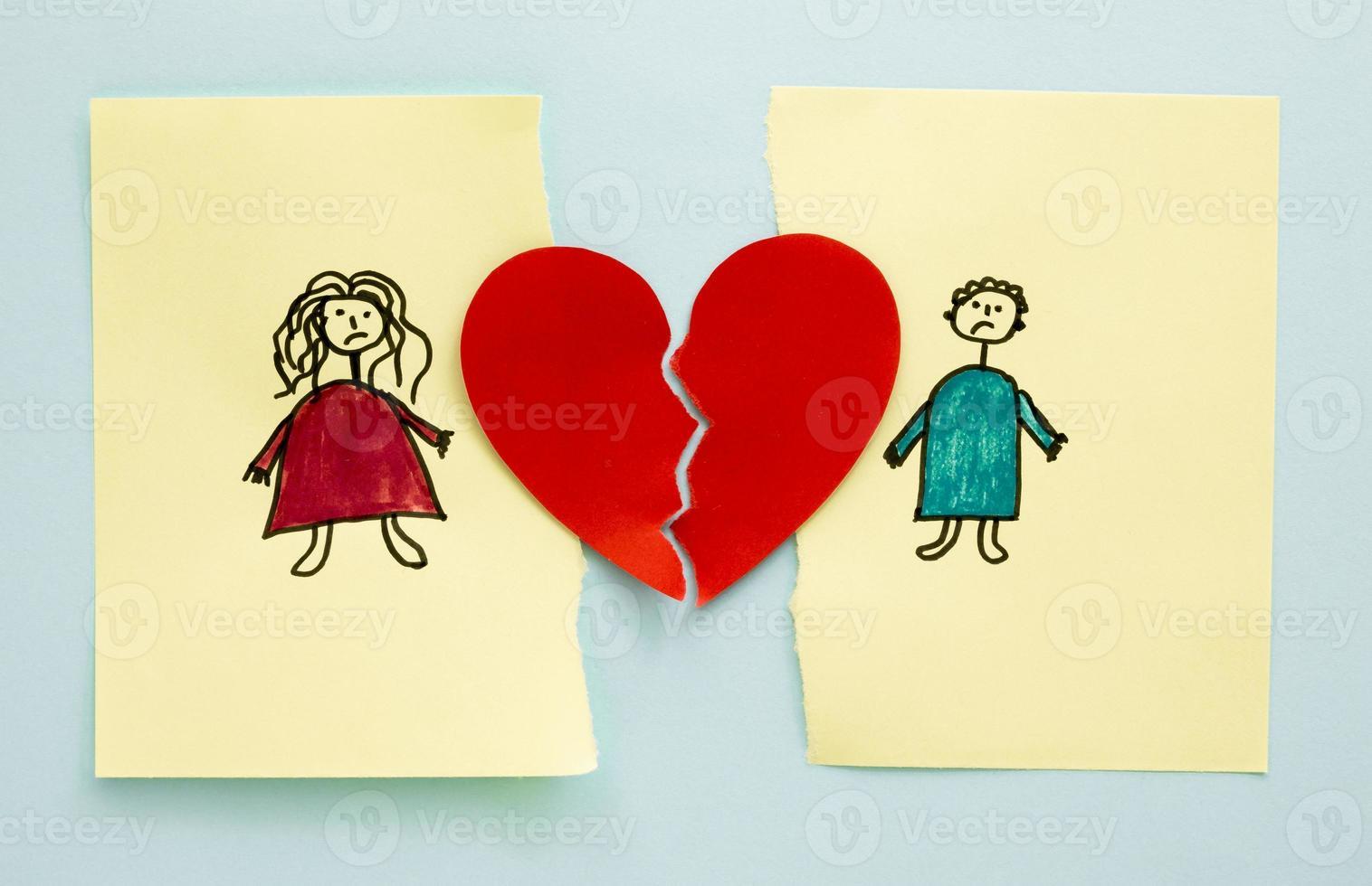 dessin de famille montrant la séparation, le concept photo