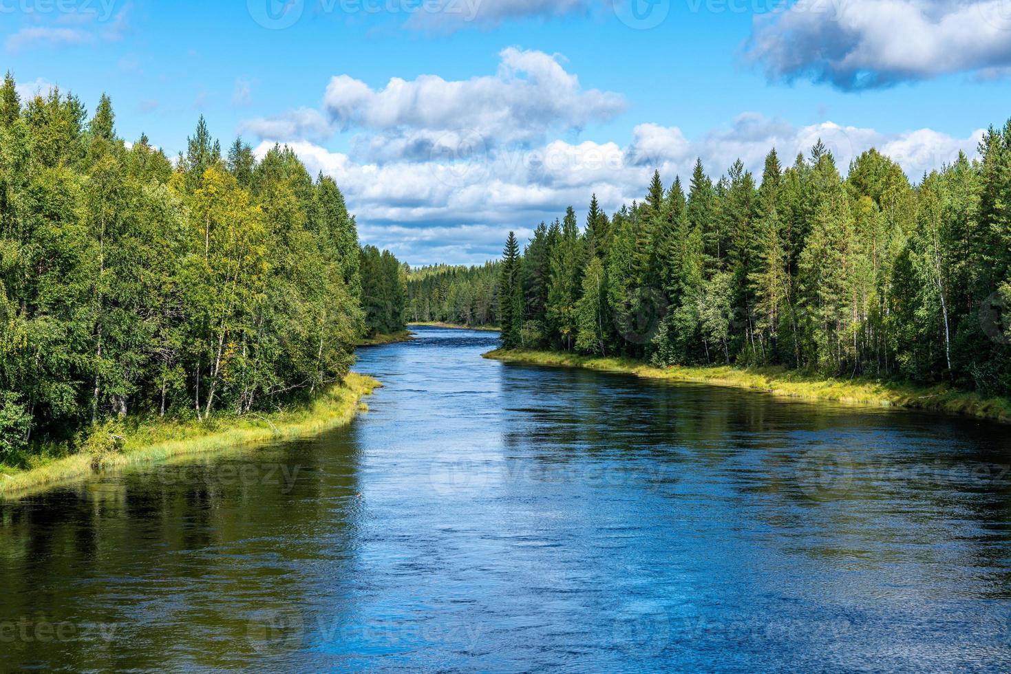 Le minerai de la rivière en Suède qui coule à travers une forêt verte photo