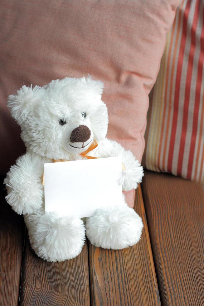 ours en peluche blanc et carte vierge photo