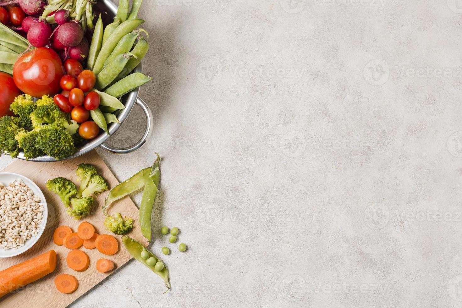 vue de dessus bol avec des aliments sains avec espace copie photo