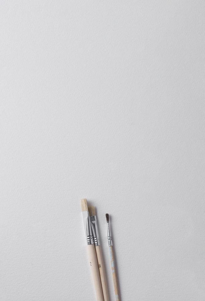 pinceaux sur fond blanc photo