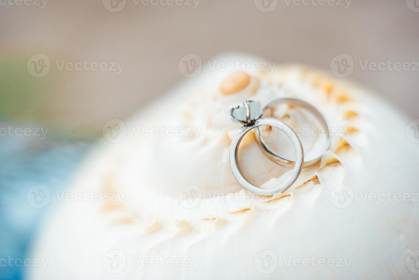 anneaux de mariage en or sur le coquillage photo