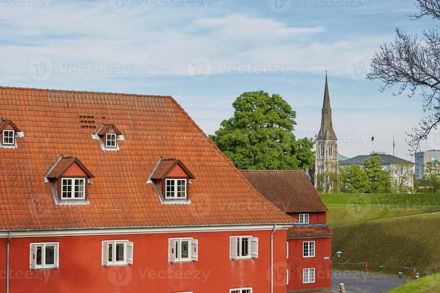 Maisons rouges dans la forteresse historique de Kastellet à Copenhague photo