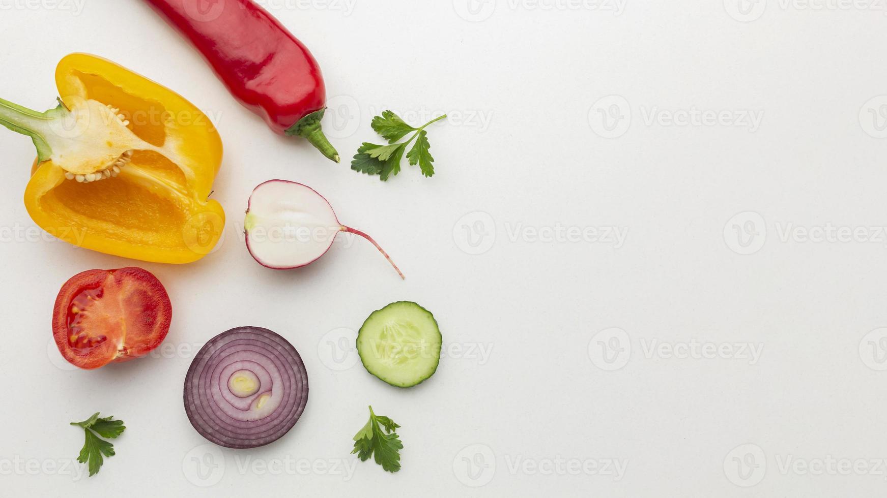 vue de dessus arrangement de légumes vue de dessus photo
