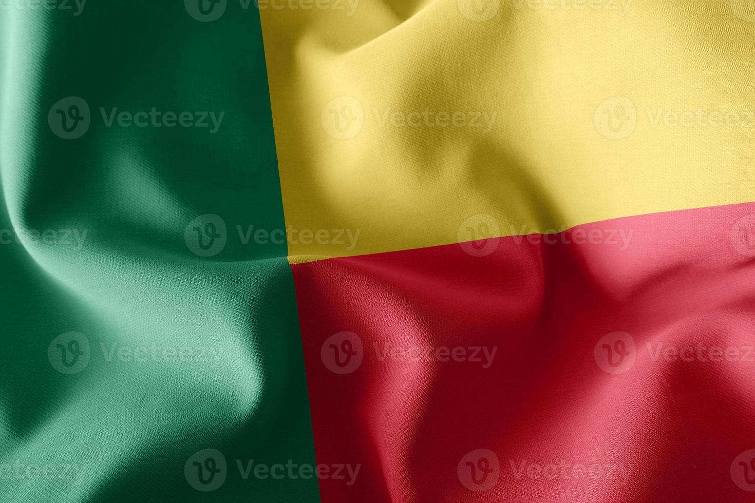 Drapeau de gros plan illustration de rendu 3D du Bénin photo
