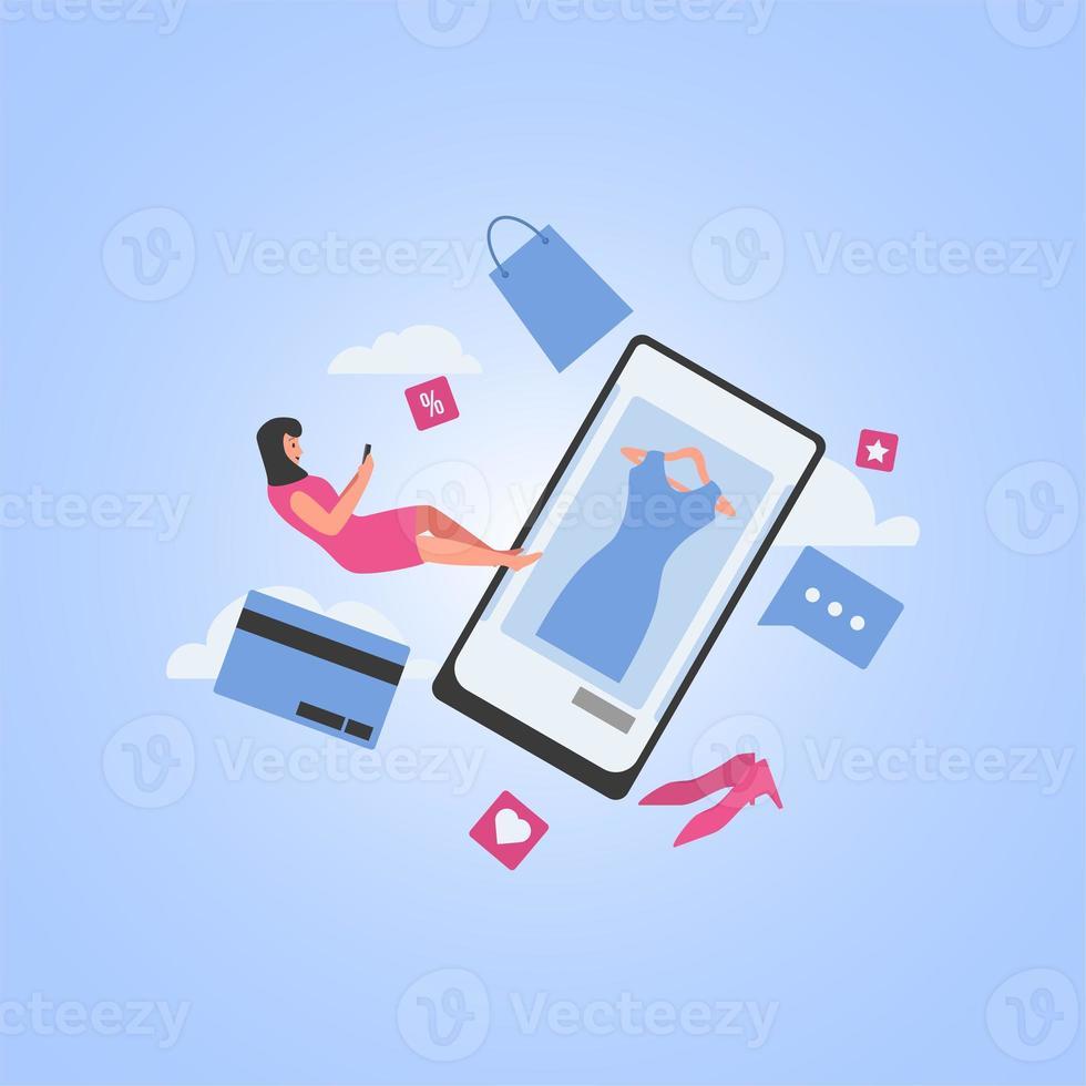 femme voler et tenir le téléphone pour acheter quelque chose sur internet photo
