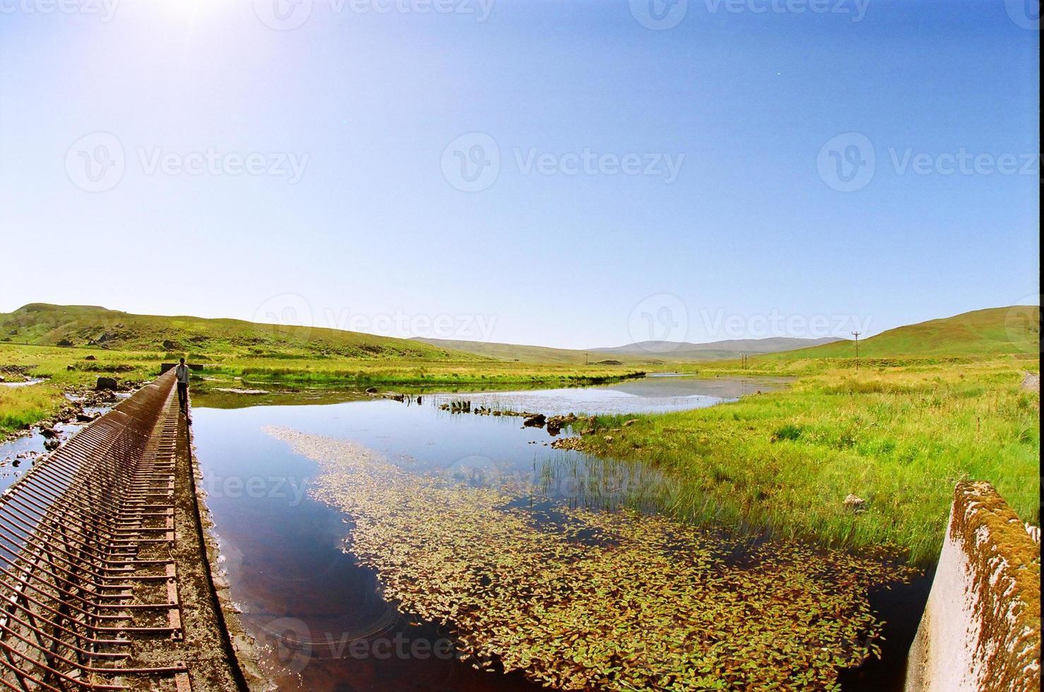 eau bleue et prairie verte photo
