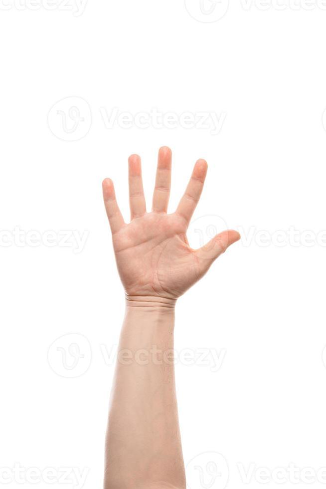 homme avec un geste de la main ouverte. isolé sur fond blanc. photo