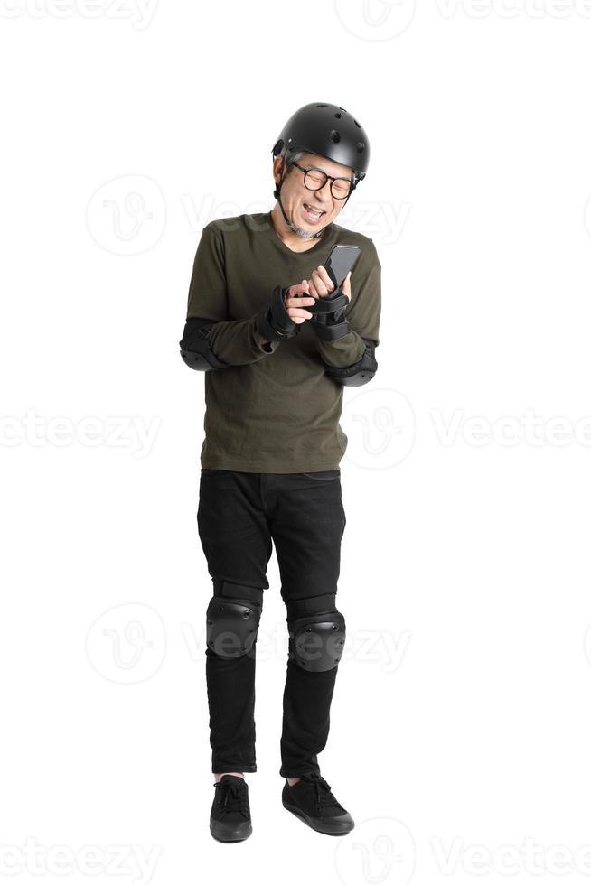 homme asiatique sur fond blanc photo
