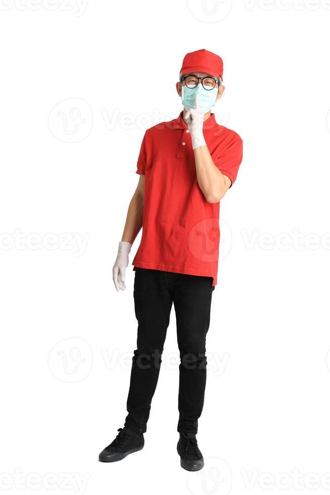 messager asiatique avec masque photo