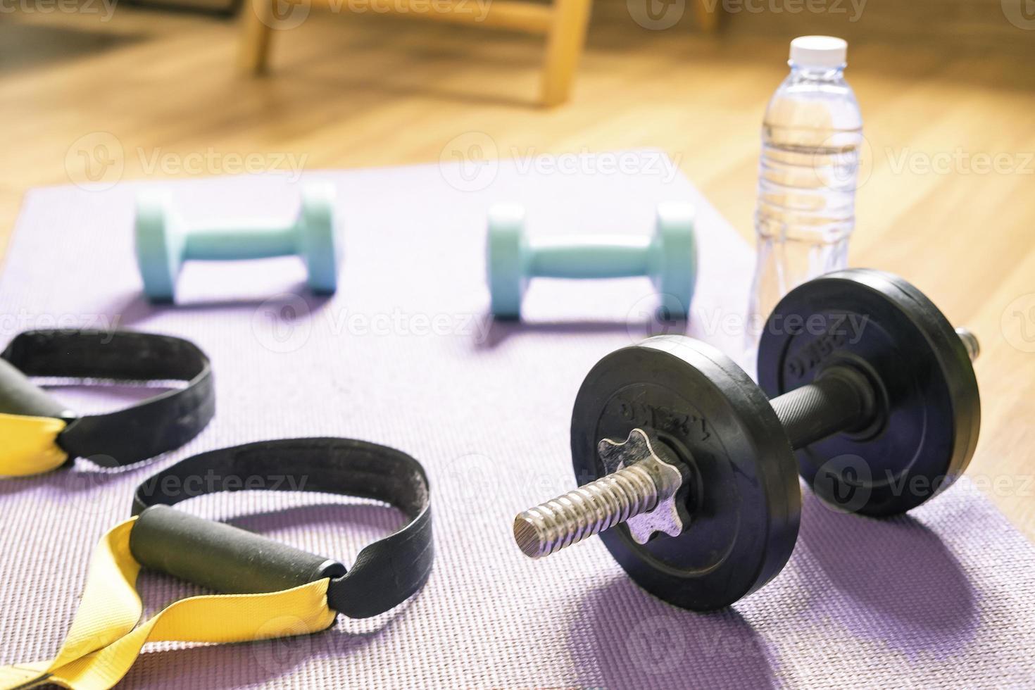 haltères dans l'exercice d'entraînement à domicile photo