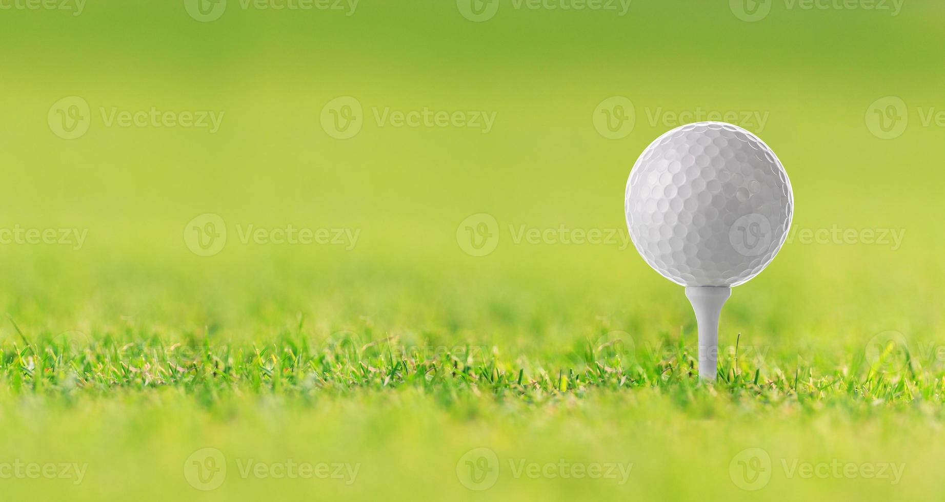 balle de golf sur le tee sur l'herbe verte, terrain de golf photo