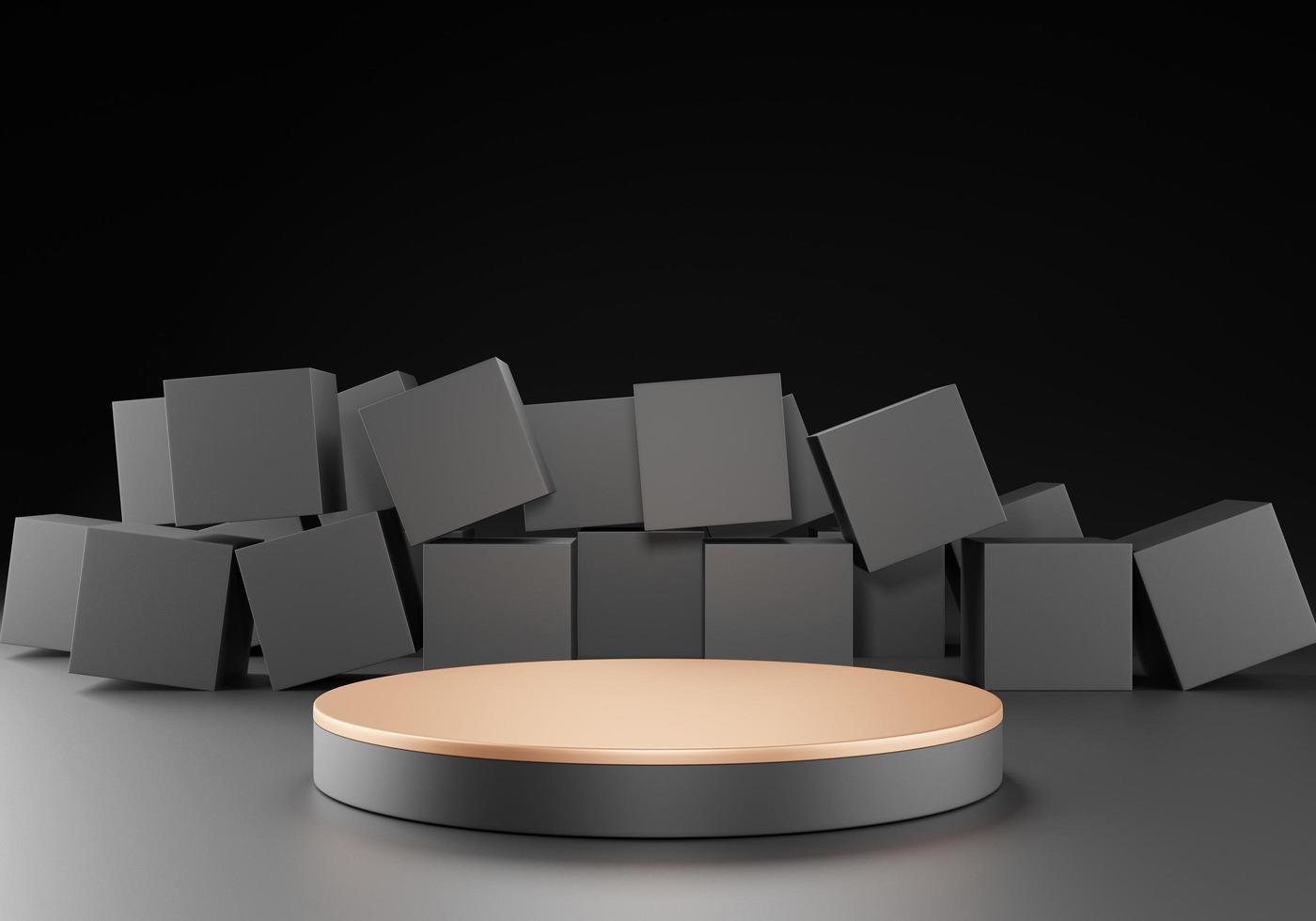 podium de support de piédestal noir sur fond noir avec des boîtes carrées photo
