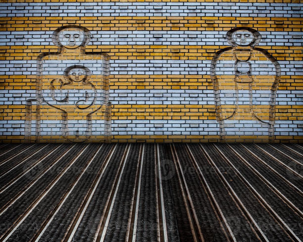 scène de mur de briques intérieur grunge urbain photo