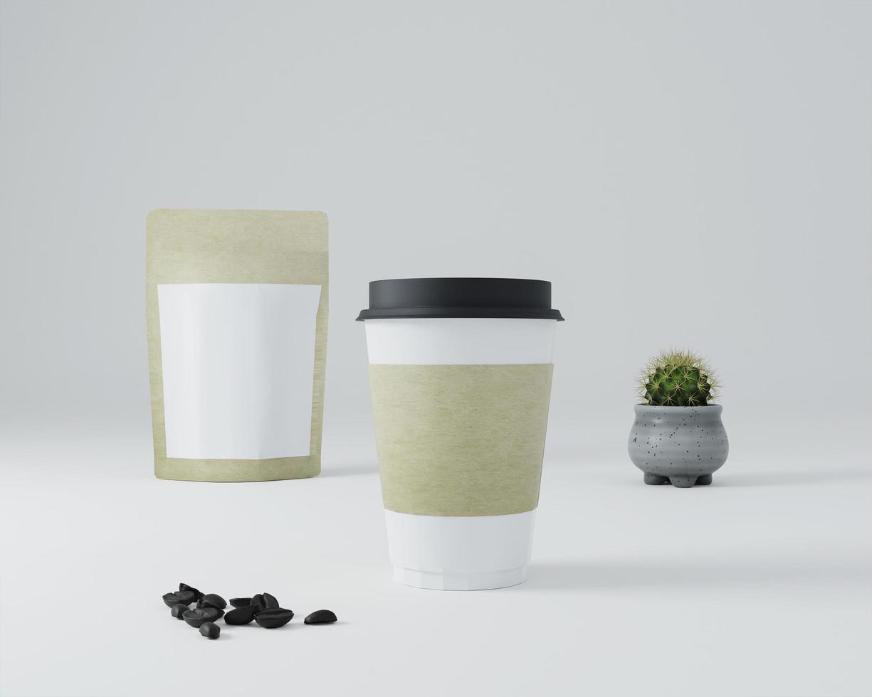 un paquet utilisé pour le café avec des tasses à café. photo