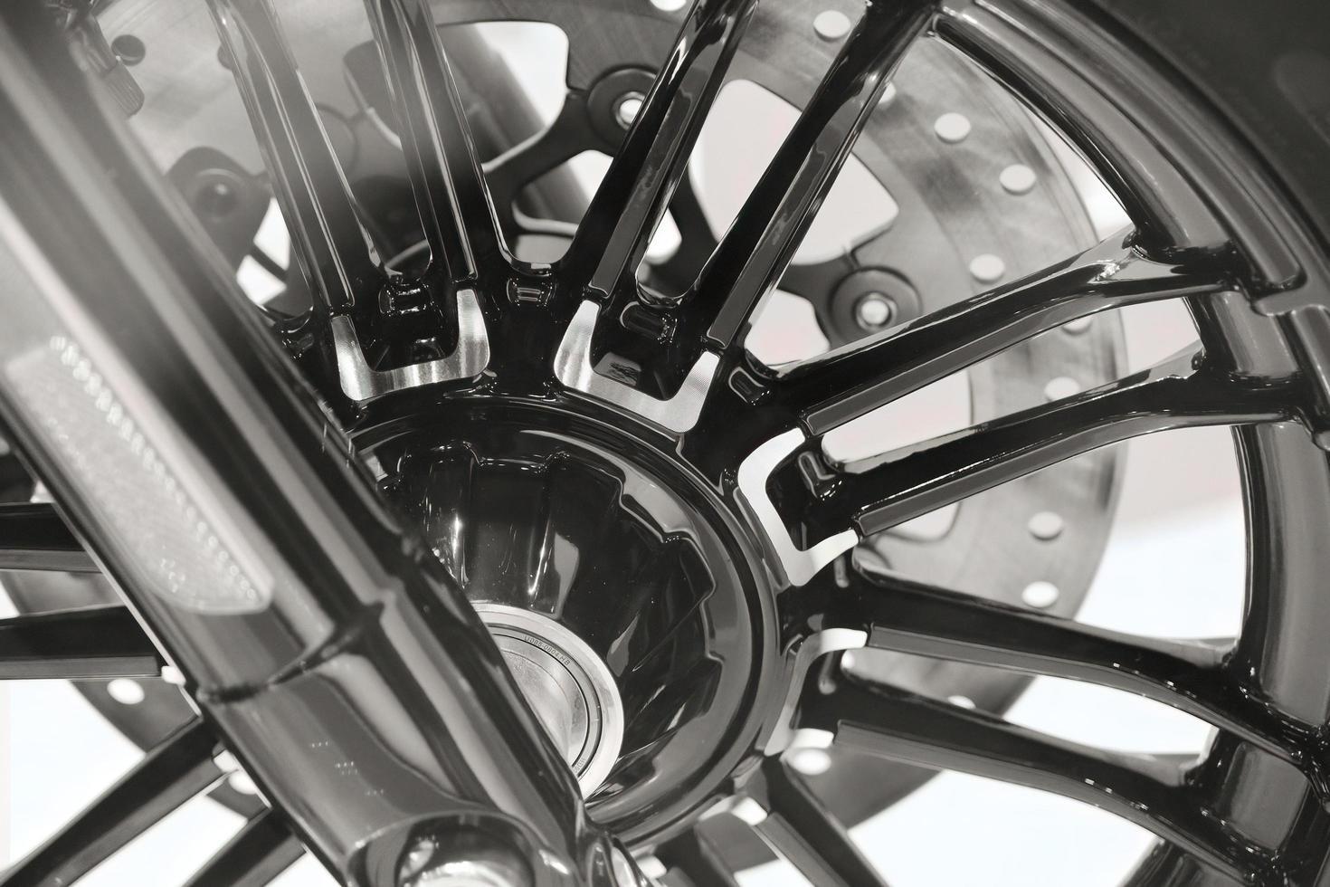gros plan d'une moto vintage lourde américaine d'une célèbre marque photo