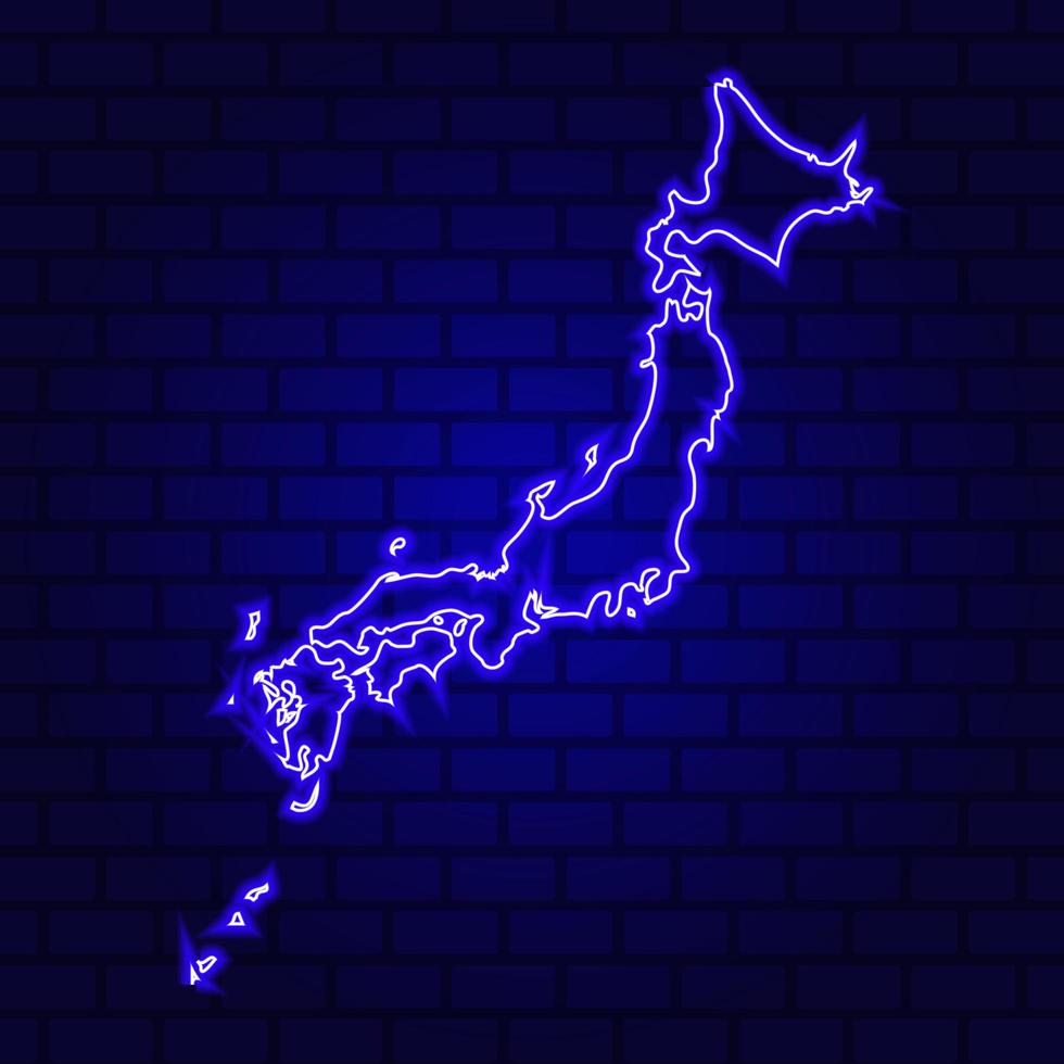 Japon enseigne au néon lumineux sur fond de mur de brique photo