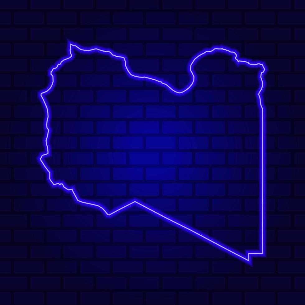Enseigne au néon de la Libye sur fond de mur de brique photo