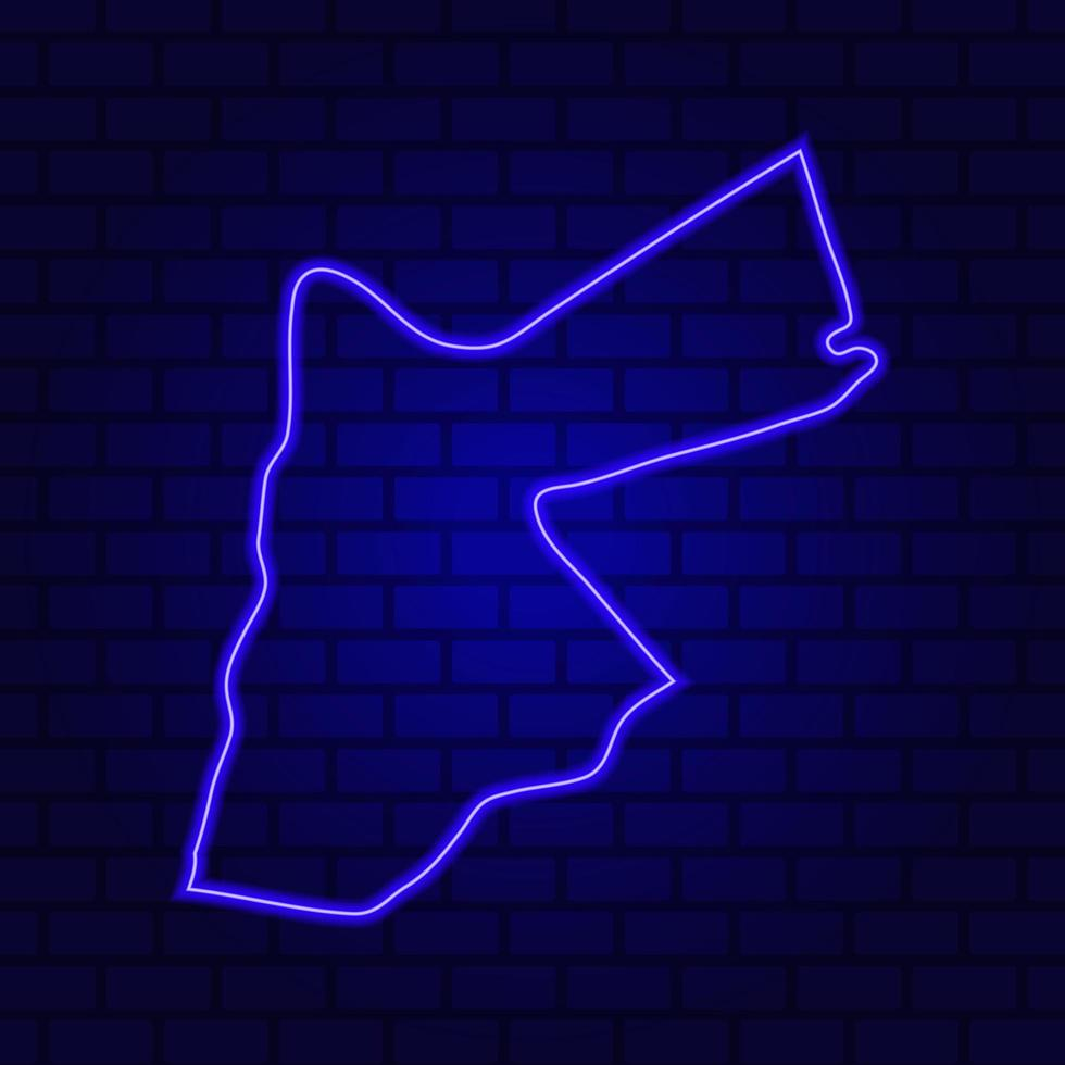 Enseigne au néon rougeoyant de la Jordanie sur le fond de mur de brique photo