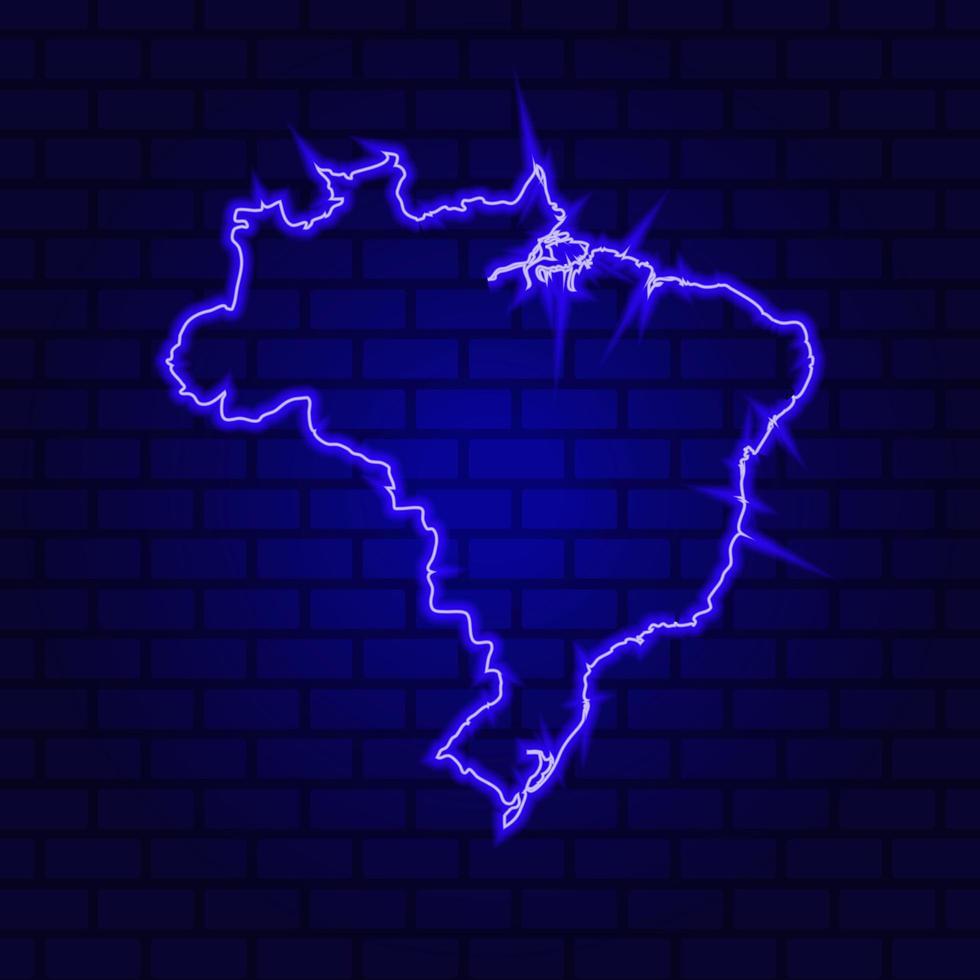 Brésil enseigne au néon lumineux sur fond de mur de brique photo