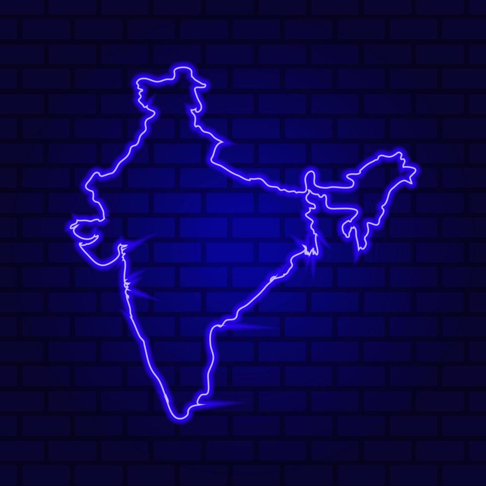 L'Inde rougeoyante au néon sur fond de mur de brique photo