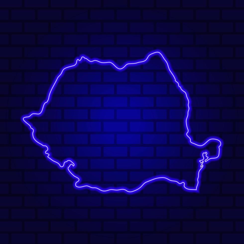 Roumanie enseigne au néon lumineux sur fond de mur de brique photo