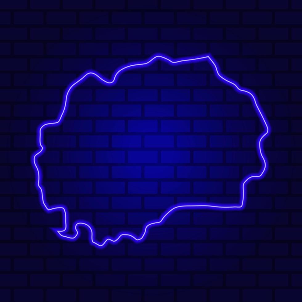 Macédoine incandescent en néon sur fond de mur de brique photo