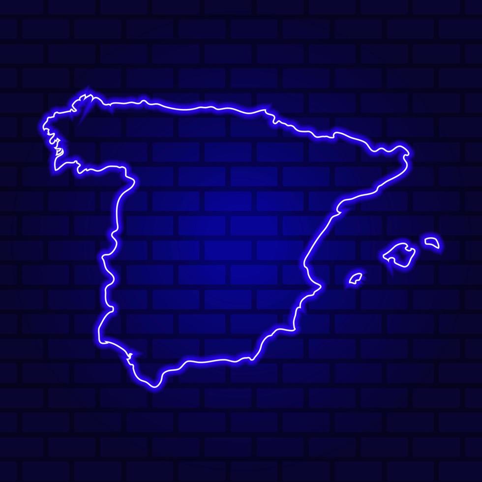 Espagne enseigne au néon rougeoyant sur fond de mur de brique photo