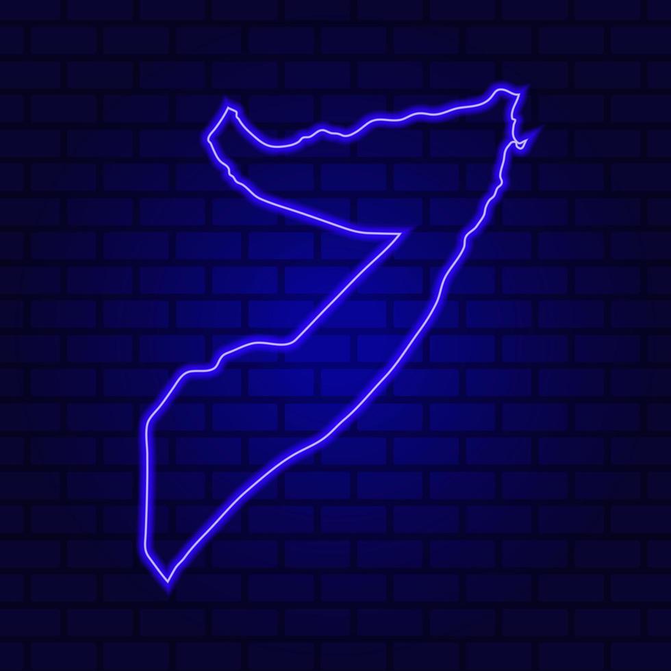 La Somalie en néon lumineux sur fond de mur de brique photo