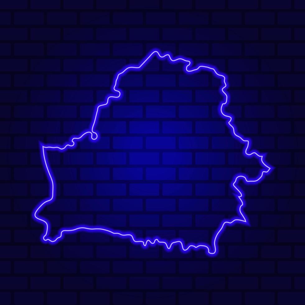 La Biélorussie en néon lumineux sur fond de mur de brique photo