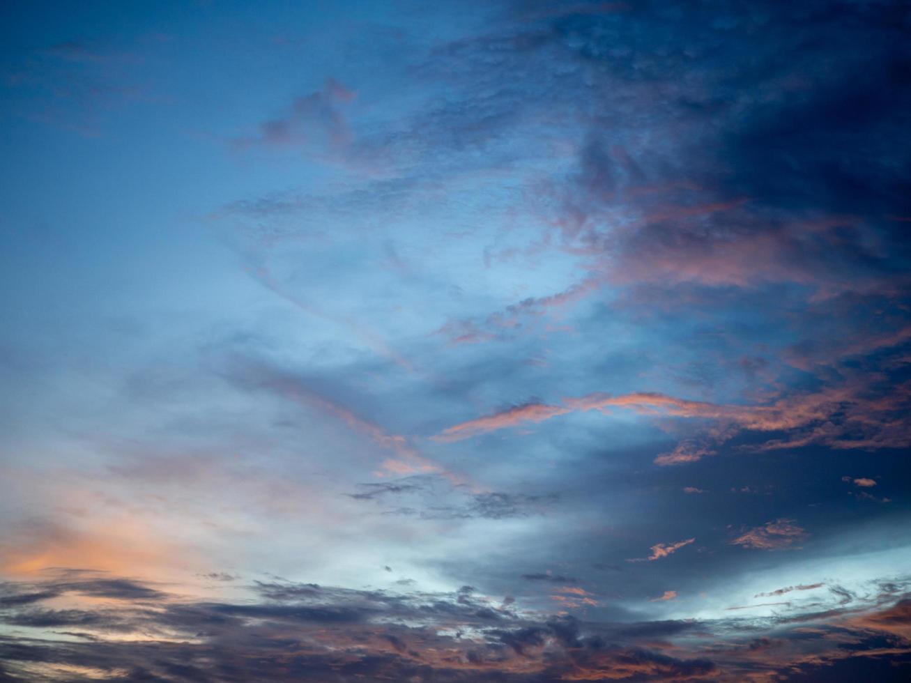 ciel et nuages au coucher du soleil. photo