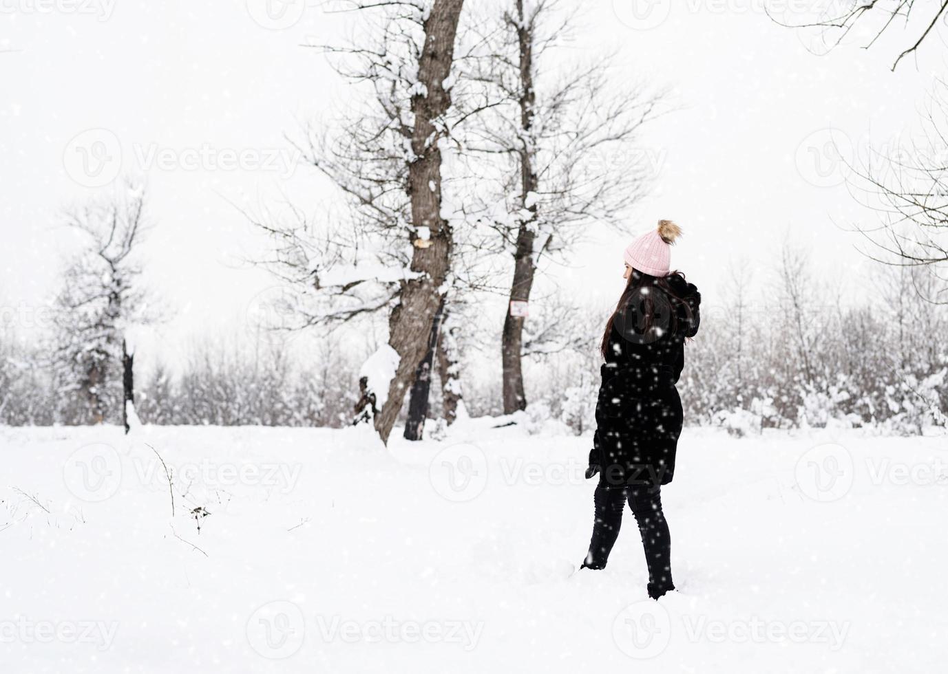 vue postérieure, de, brunette, marche femme, dans, snowy park, dans, chutes de neige photo