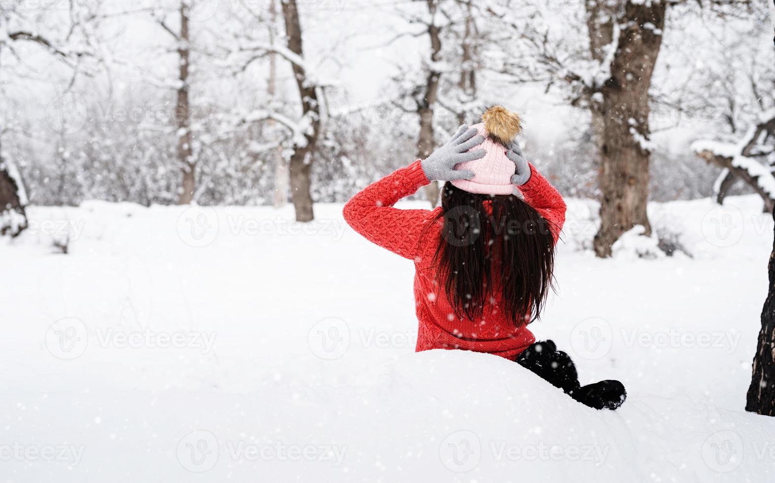 vue postérieure, de, brunette, séance femme, dans, snowy park, dans, chutes de neige photo