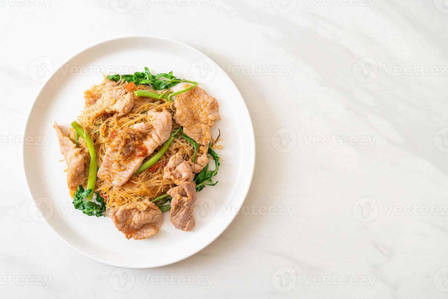 vermicelles de riz sautés et mimosa d'eau au porc photo