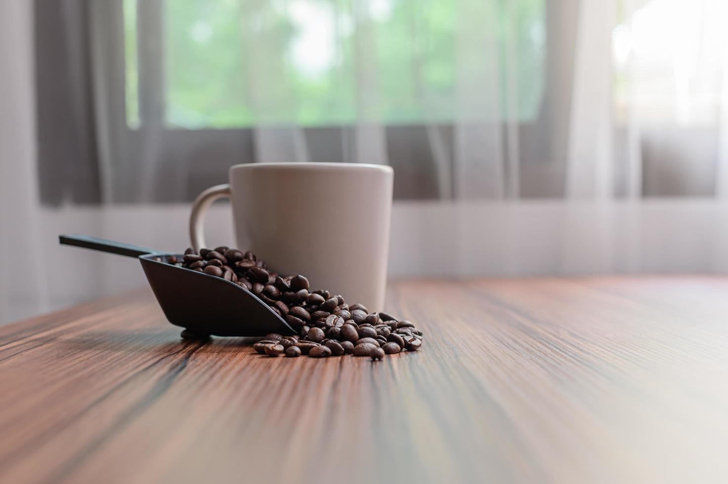 tasses à café et grains de café pour booster l'énergie photo