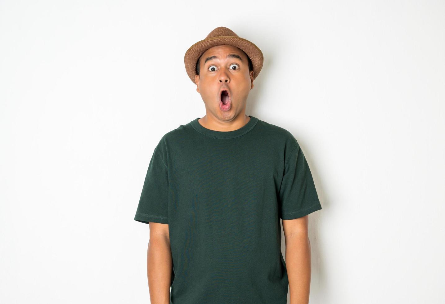 homme choqué dans une chemise verte photo