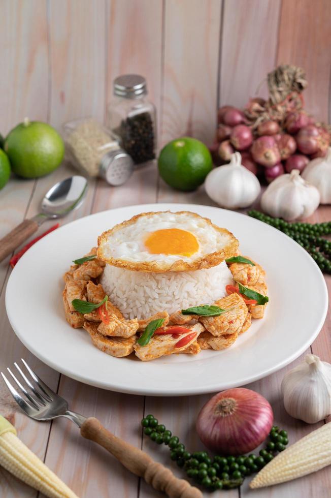 pâte de chili sautée et poulet avec riz photo