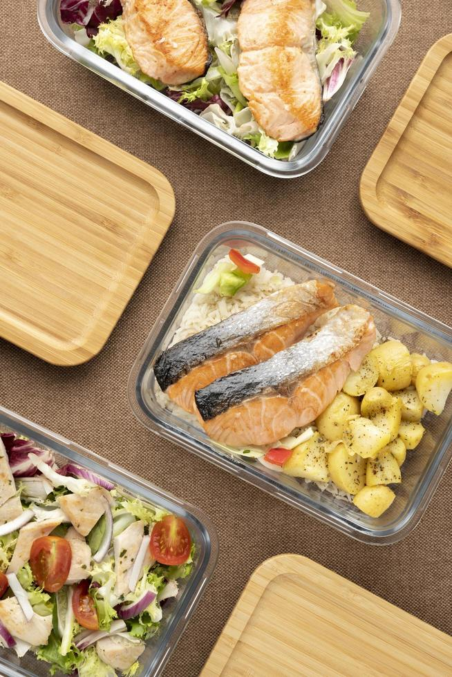 vue de dessus nutrition alimentaire planification des repas photo