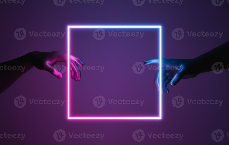 les mains de style création d'adam avec un cadre néon photo