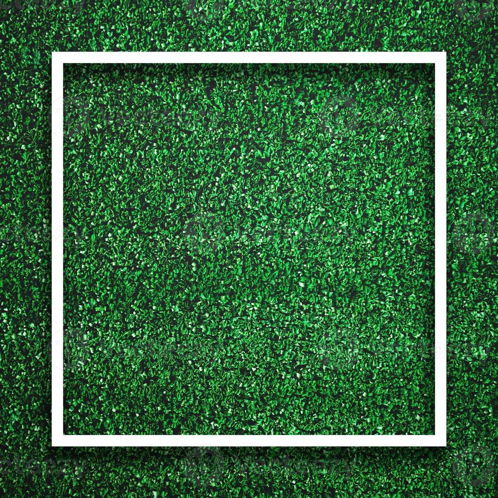 Bordure de cadre blanc carré rectangle sur l'herbe verte avec une ombre photo