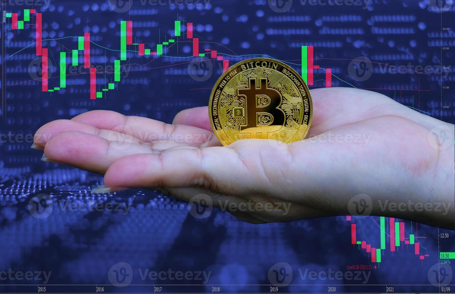 main de femme tenant une crypto-monnaie bitcoin dorée photo